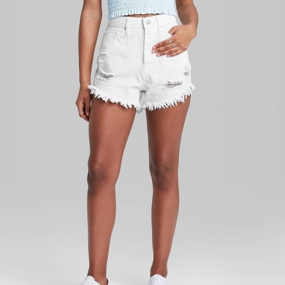 wild fable white distressed mom shorts